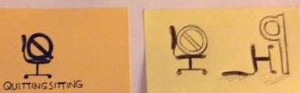 The first logo sketches on post-its.