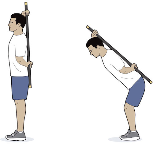Bend at the hips, but keep your back ram-rod straight.