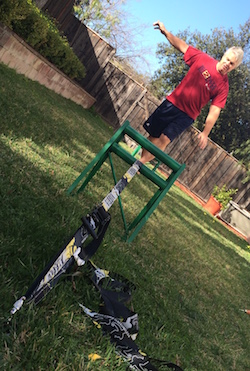 how to set up build setup a slackline with no trees without poles in the ground just lawn quitting sitting slack line in action