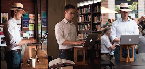 cafe ergonomics quitting sitting working healthy positions coffee shop accessories posture working remote laptop stand stand