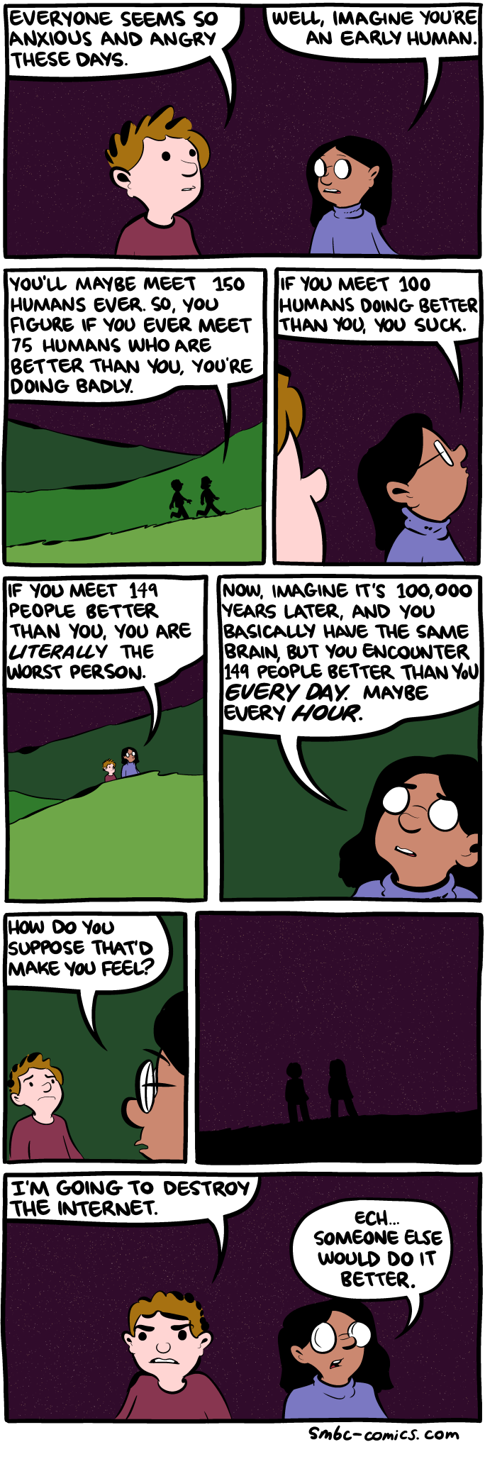 quitting sitting Facebook depression mental health productivity time wasting waster social media linked to unhappiness jealously curated life image comic saturday morning breakfast cereal