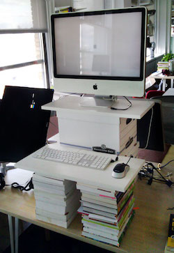 diy standing desk new years resolution how to start standing desk stack up boxes and books